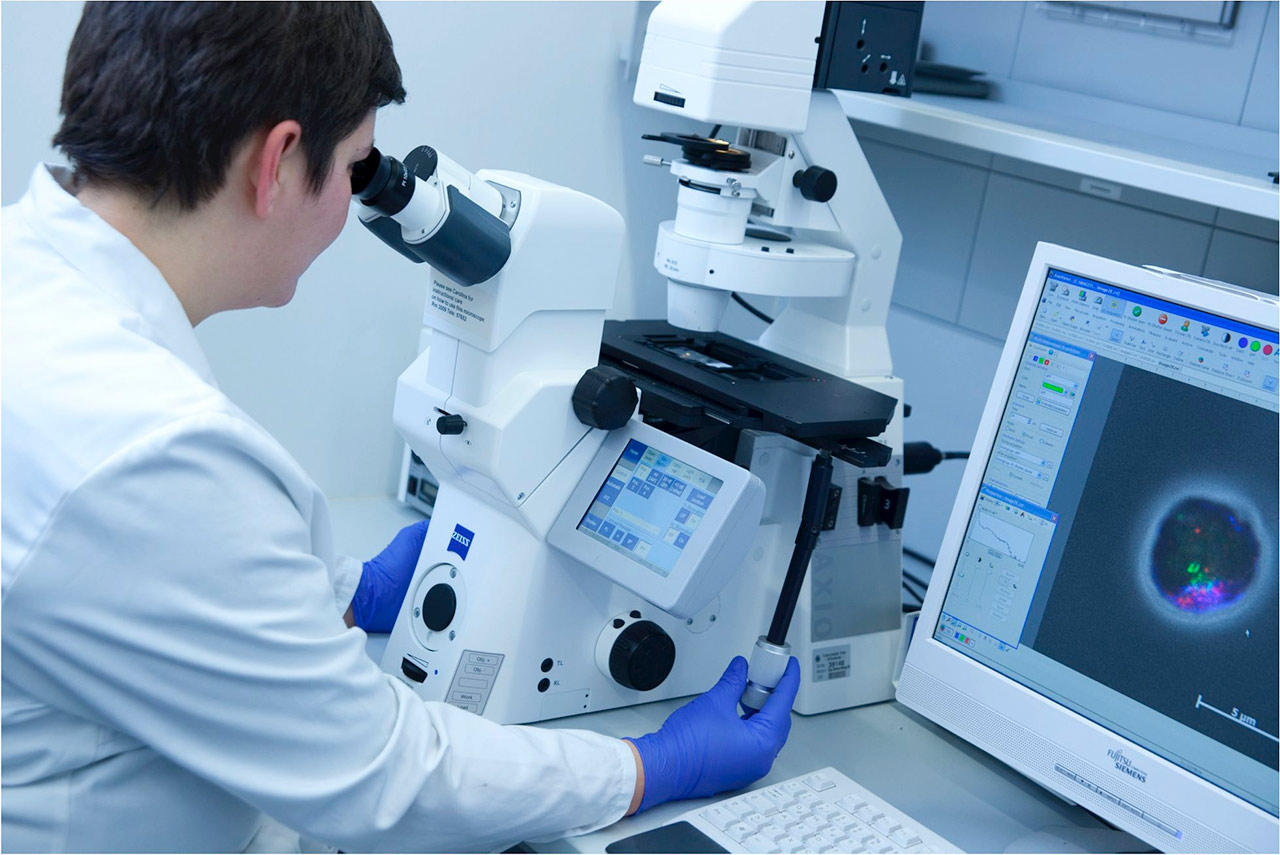 Microscopy in a research laboratory