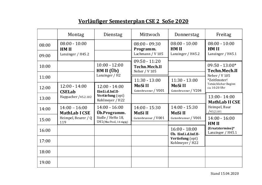 Stundenplan des Studiengangs Computational Science and Engineering 2. Semester