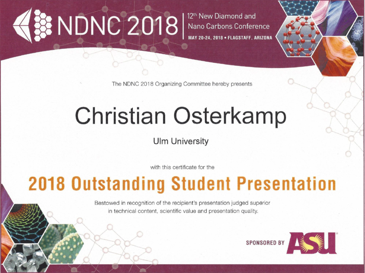 Certificate for the 2018 Outstanding Student Presentation