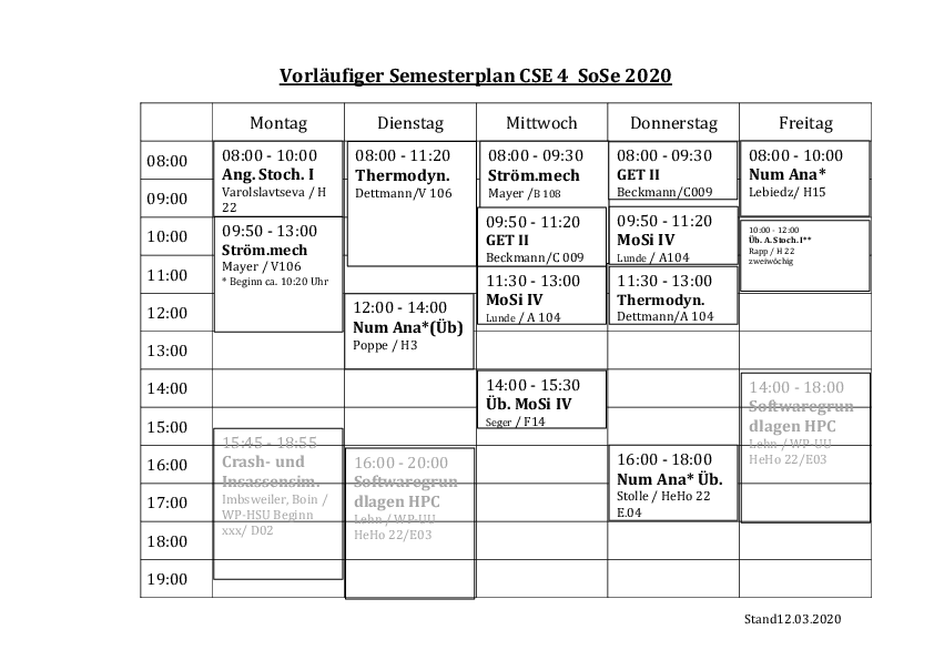 Stundenplan des Studiengangs Computational Science and Engineering 4. Semester