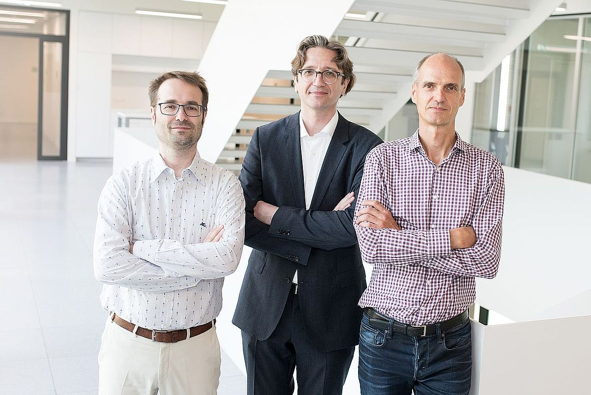 The professors Martin Plenio, Fedor Jelezko und Jan Hendrik Ardenkjær-Larsen (from left) have been awarded an ERC Synergy Grant (photo: Eberhardt/Ulm University)