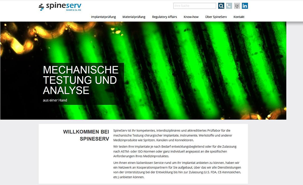 Homepage SpineServ
