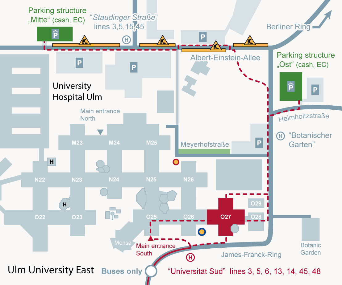 Site map campus of ulm university