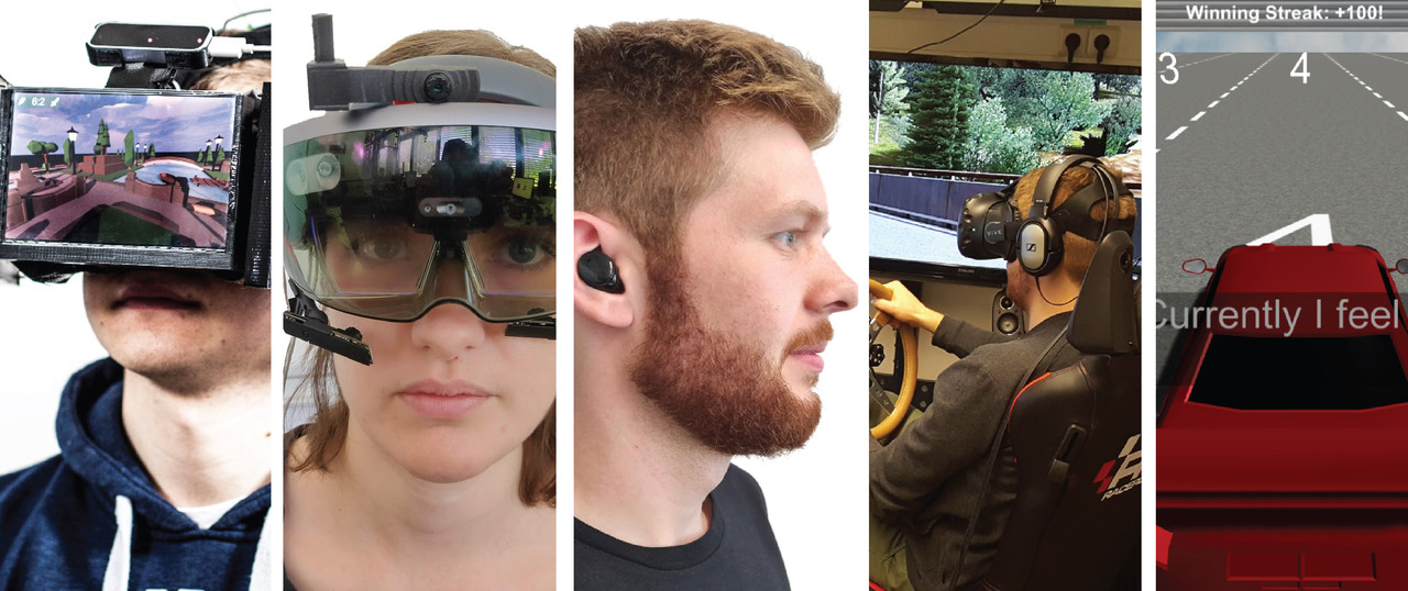The figure consists of 5 parts: part 1 shows a person with a VR headset, part 2 shows a person with an AR headset, part 3 shows a person with hearables, part 4 shows a driving simulator, part 5 shows a game including a game