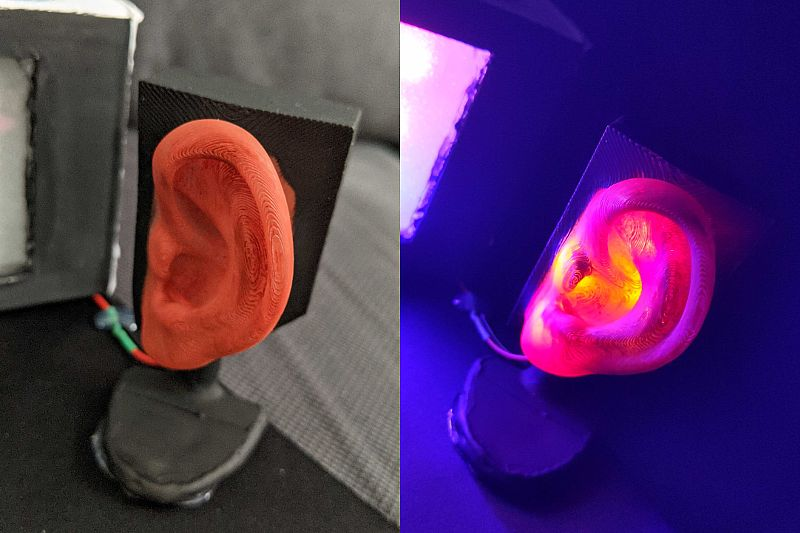 Photo of an illuminable ear - tribute to a research topic of S. Maisch on his doctoral cap