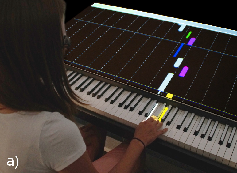 P.I.A.N.O.: Faster Piano Learning with Interactive Projection