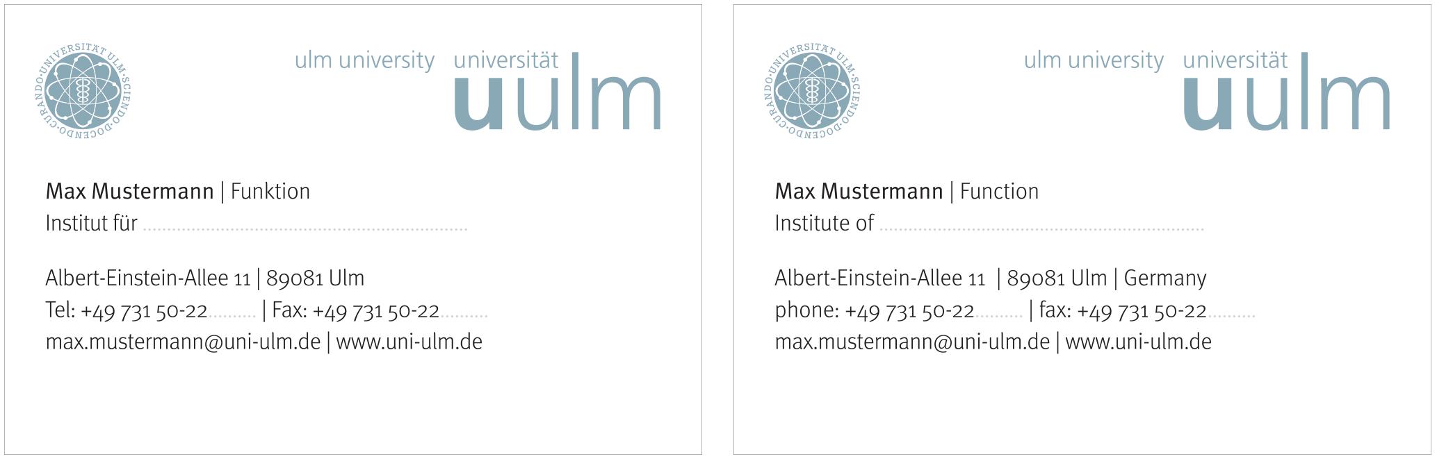 Visitenkarten Universität Ulm