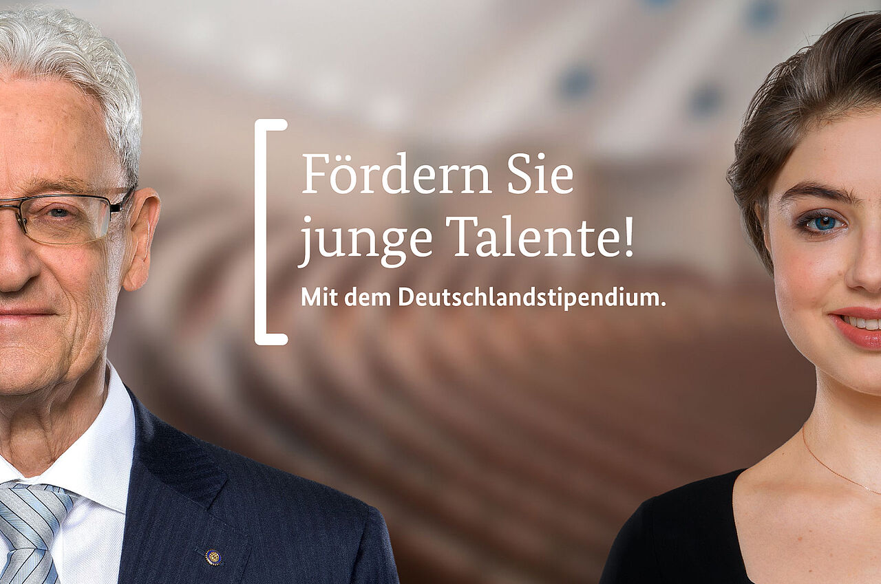 "Sponsor and scholar. ""Sponsor young talents! With the Deutschlandstipendium."" The picture is linked to a page with information on how to become a sponsor."