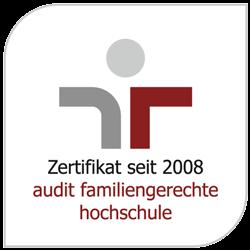 Logo: Zertifikat seit 2008 – Audit familiengerechte Hochschule